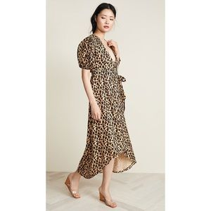 Valencia & Vine Leopard Wrap Midi Dress Large